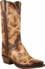 Mens Lucchese Classics Brands & Skulls Wire Hand Tooled Leather Custom Hand-Made Cowboy Boots L1634