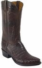 Mens Lucchese Classics Chocolate Distressed Caiman Crocodile Belly Custom Hand-Made Cowboy Boots L1317