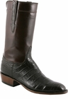 Mens Lucchese Classics Chocolate Ultra Belly Crocodile with Regal Cord Custom Hand-Made Leather Boots L9479