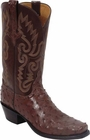 Mens Lucchese Classics Cigar Full Quill Ostrich Custom Hand-Made Cowboy Boots L1275