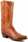 Mens Lucchese Classics Cognac Burnished Baby Buffalo Custom Hand-Made Cowboy Boots L1660