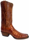 Mens Lucchese Classics Cognac Burnished Caiman Belly Hand-Made Cowboy Boots E2154