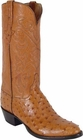 Mens Lucchese Classics Cognac Full Quill Ostrich Custom Hand-Made Cowboy Boots L1167