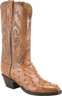 Mens Lucchese Classics Cognac Full Quill Ostrich Custom Hand-Made Cowboy Boots L1175