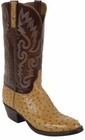 Mens Lucchese Classics Saddle Tan Full Quill Ostrich Custom Hand-Made Cowboy Boots L1179