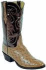 Mens Lucchese Classics Saddle Tan Full Quill Ostrich Custom Hand-Made Cowboy Boots L1221