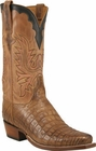 Mens Lucchese Classics Tan Burnished Caiman Crocodile Belly Custom Hand-Made Cowboy Boots L8013