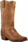 Mens Lucchese Classics Tan Burnished Silk Caiman Crocodile Belly Custom Hand-Made Cowboy Boots L1399