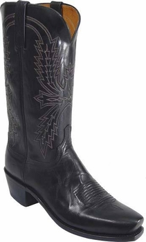 "Mens Lucchese ""Crayton"" Black Burnished Mad Dog Goat Leather Boots N1560"