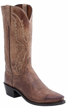 "Mens Lucchese ""Crayton"" Tan Burnished Mad Dog Goat Leather Boots N1547"