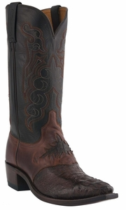 "Men's Lucchese ""Beauford"" Barrel Brown & Black Hornback Caiman Crocodile Cowboy Boots M2535"