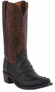 """Men's Lucchese """"Beauford"""" Black & Tan Burnished Hornback Caiman Headcut Leather Boots M2537"""