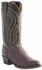 "Men's Lucchese ""Montana"" Sienna & Dark Brown Full Quill Ostrich Leather Boots M1607"