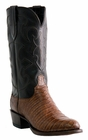 "Men's Lucchese ""Charles"" Sienna & Dark Brown Belly Crocodile Leather Boots M1635"