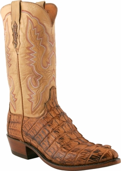 "Men's Lucchese ""Willis"" Tan Burnished Horn Back Caiman Tail Boot N1108"