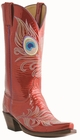 12� Ladies Lucchese Classics Flame Red Patent Calf with Peacock Stitch Design L4735