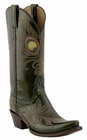 12� Ladies Lucchese Classics Peridot Green Patent Calf with Peacock Stitch Design L4732