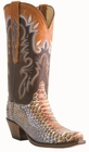 "12"" Ladies Lucchese Classics Rust Mallard Python Chocolate / Cognac Ranch Hand with Coolidge with Leaves Stitch Design L4155"
