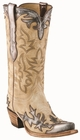 12� Ladies Lucchese Classics Winter Camel Goat w/ Pewter Acetone Goat Wingtip/Foxing with Santa Fe Design L4737