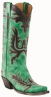 13�Ladies Lucchese Classic Destroyed Green Peruche Goat with Mayela Raya Stitch Design L4730