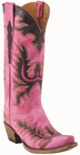 13� Ladies Lucchese Classic Destroyed Hot Pink Dodder Goat with Mayela Raya Stitch Design L4726