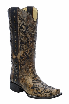 *NEW* Corral Women's Black / Bronze Long Pull Strap Boot - R1345