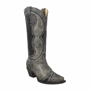 *NEW* Corral Women's Black / Grey Sequence Diamond Inlay Boot - A3092