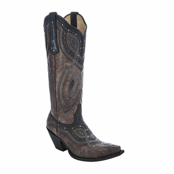 *NEW* Corral Women's Brown / Black-Grey Overlay & Studs Boot - G1263