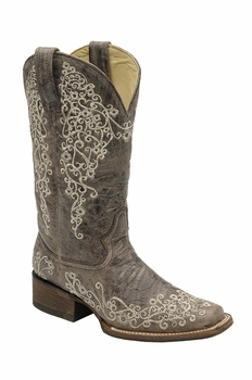 *NEW* Corral Women's Brown Crater Bone Embroidery Boot - A2663