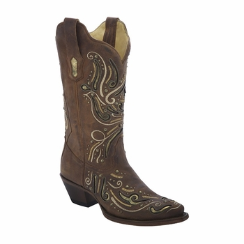 *NEW* Corral Women's Brown / Metallic Inlay & Studs Boot - R1372