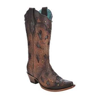 *NEW* Corral Women's Brown / Tan Studded Pattern Boot - C3044