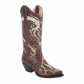 *NEW* Corral Women's Brown / Taupe Overlay& Studs Boot - R1371