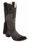 *NEW* Corral Women's Chocolate Back Braiding & Fringe Boot - A3127