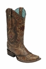 *NEW* Corral Women's Cognac / Multicolor Ethnic Pattern & Whip Stitch Boot - C2915