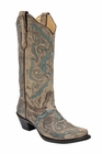 *NEW* Corral Women's Distressed Brown / Turquoise Embroidery Boot - E1002