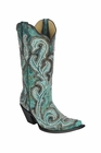 *NEW* Corral Women's Turquoise Shaded Embroidery & Studs Boot - G1249