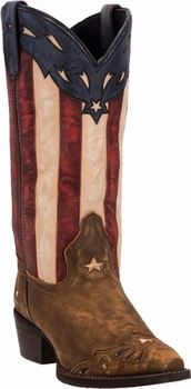 "*NEW* Laredo Ladies ""Keyes"" Stars & Stripes Leather Boots - Order Now For July 4th!"