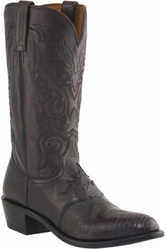 "*NEW* Lucchese Men's ""Silas"" Black Cherry Lizard Leather Boot M2901"