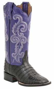 """Women's Lucchese """"Annalyn"""" Black Ultra Belly Caiman & Calf Leather Boots M4943"""