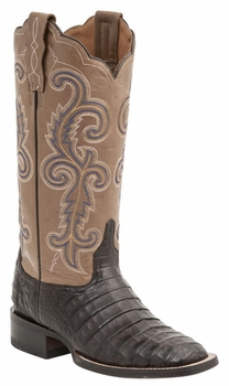 """Women's Lucchese """"Annalyn"""" Cafe Brown Ultra Belly Caiman & Calf Leather Boots M4942"""