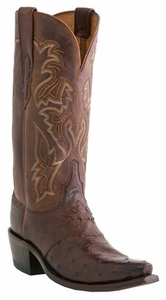 "Women's Lucchese ""Augusta"" Sienna Burnished & Redwood Full Quill Ostrich Boots M5601"