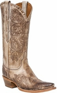 """*NEW* Lucchese Women's """"Charity"""" Beige Distressed Leather Boot M4967"""