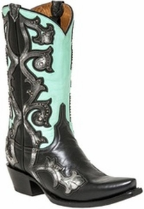 "*NEW* Lucchese Women's ""Eleanor"" Black Studded Leather Boot M4964"