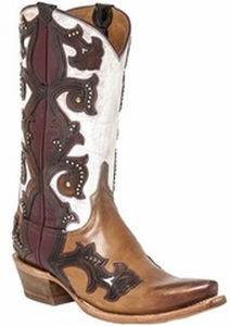 "*NEW* Lucchese Women's ""Eleanor"" Studded Beige Leather Boot M4962"