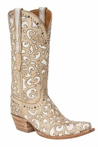 "*NEW* Lucchese Women's ""Sierra"" Bone Cowhide Leather Boots M4958"