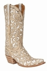 """*NEW* Lucchese Women's """"Sierra"""" Bone Cowhide Leather Boots M4958"""