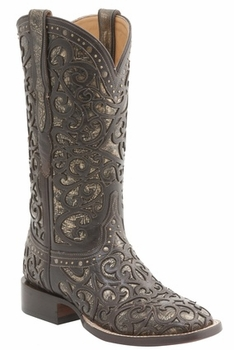 "*NEW* Lucchese Women's ""Sierra"" Espresso and Bronze Calf Leather Horseman Boot M4843"