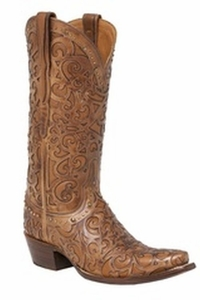"*NEW* Lucchese Women's ""Sierra"" Tan Cowhide Leather Boot M4959"