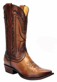 *NEW* Men's Corral Tan Laser and Whip Stitch Snip Toe Western Boots C3060