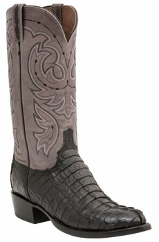*NEW* Men's Lucchese Heritage Crockett Hornback Caiman Tail Boot - Black Waxy H1003